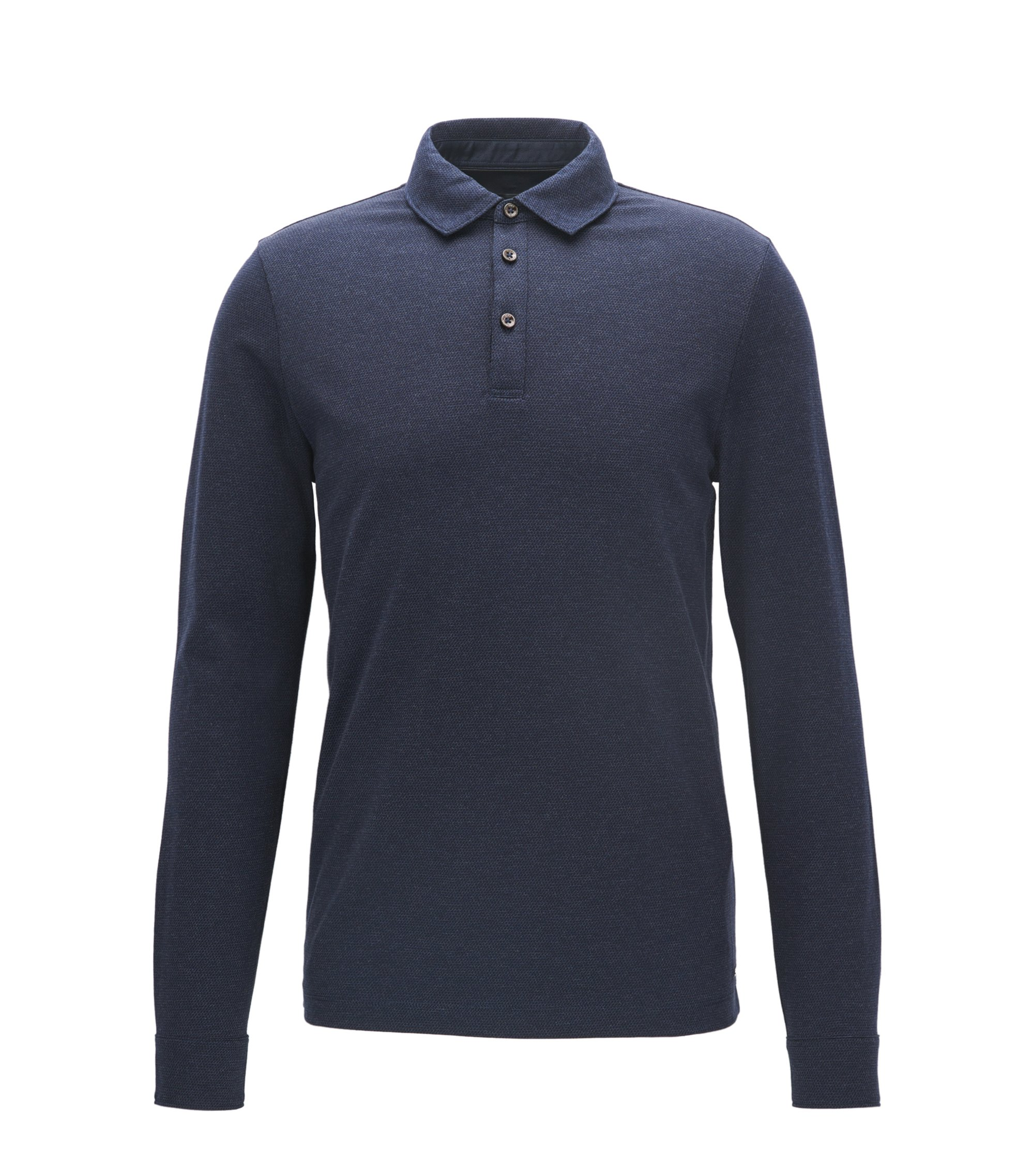 Polo slim fit a maniche lunghe in cotone jacquard , Blu scuro