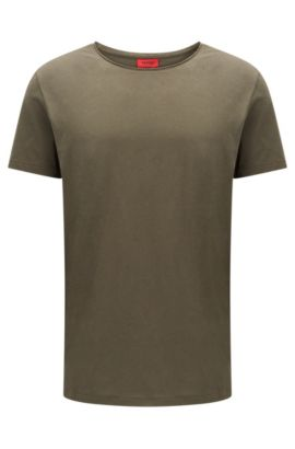 T-shirt a girocollo relaxed fit in cotone Supima, Verde scuro