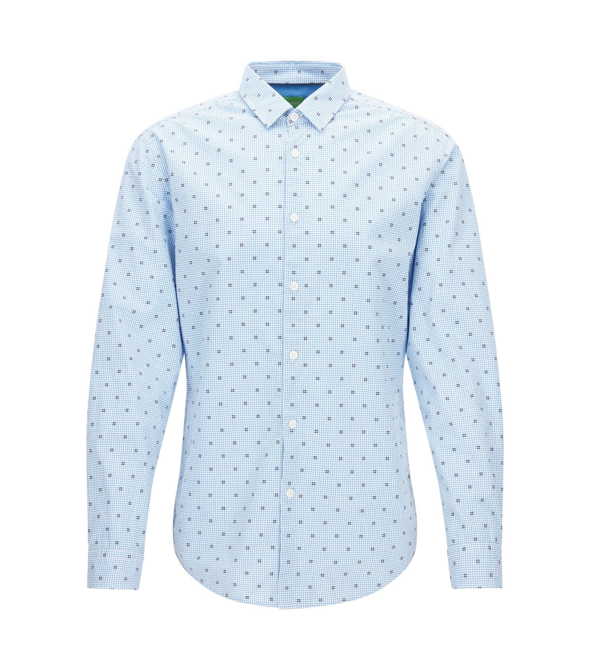 Kariertes Slim-Fit Hemd aus Baumwolle, Blau