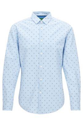 Chemise Slim Fit en coton à carreaux, Bleu