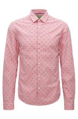 Slim-fit overhemd van geruite katoen, Bedrukt