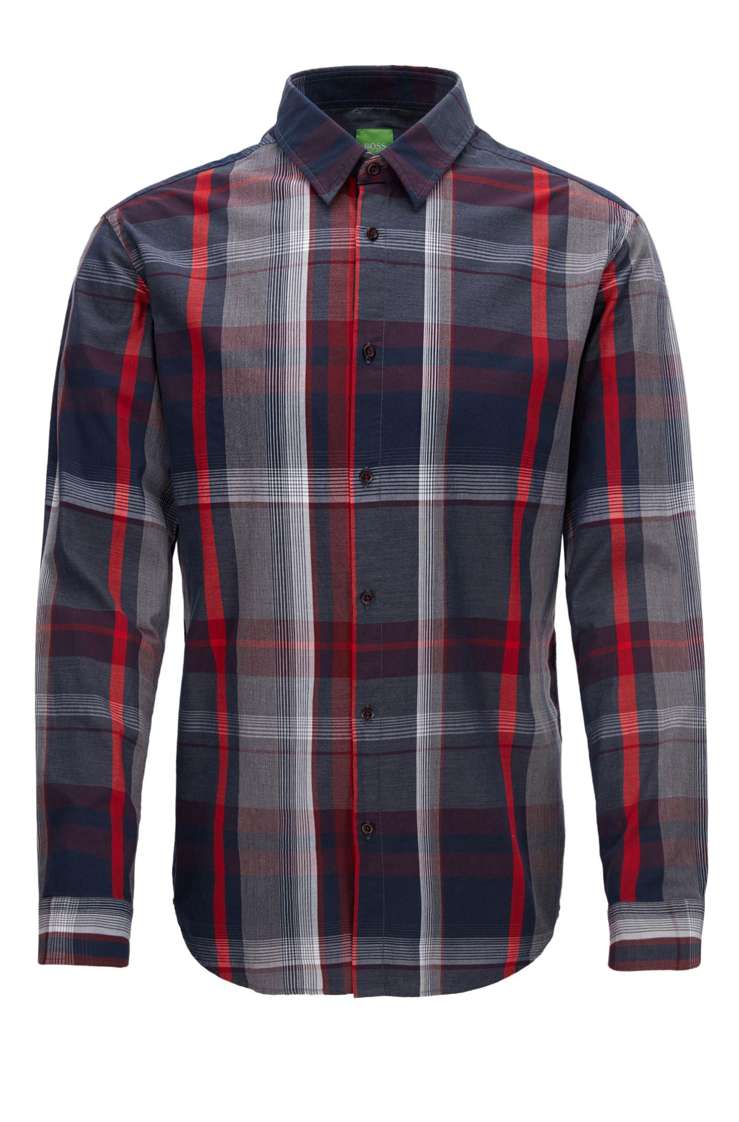 Slim-fit geruit overhemd van katoen
