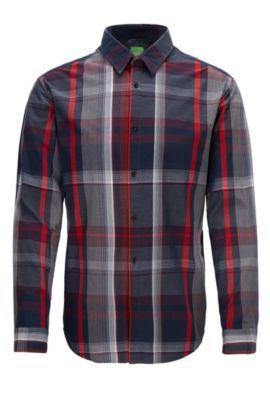 Slim-fit geruit overhemd van katoen, Bedrukt