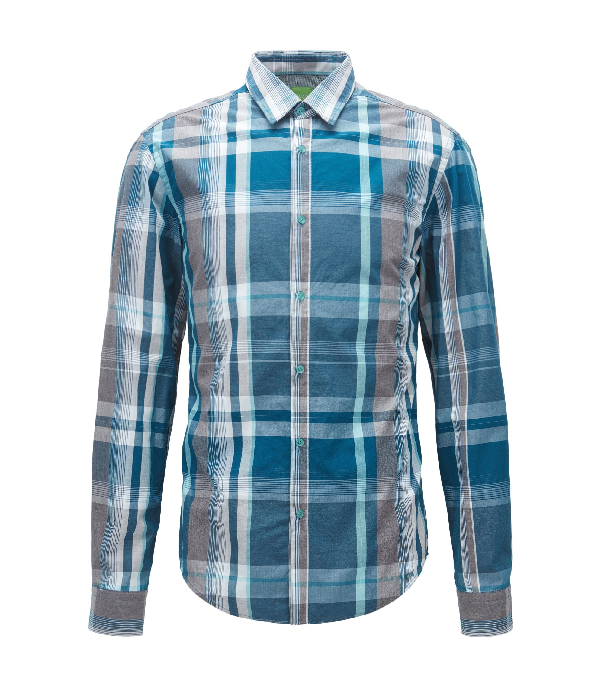 Checked cotton shirt in a slim fit, Patterned