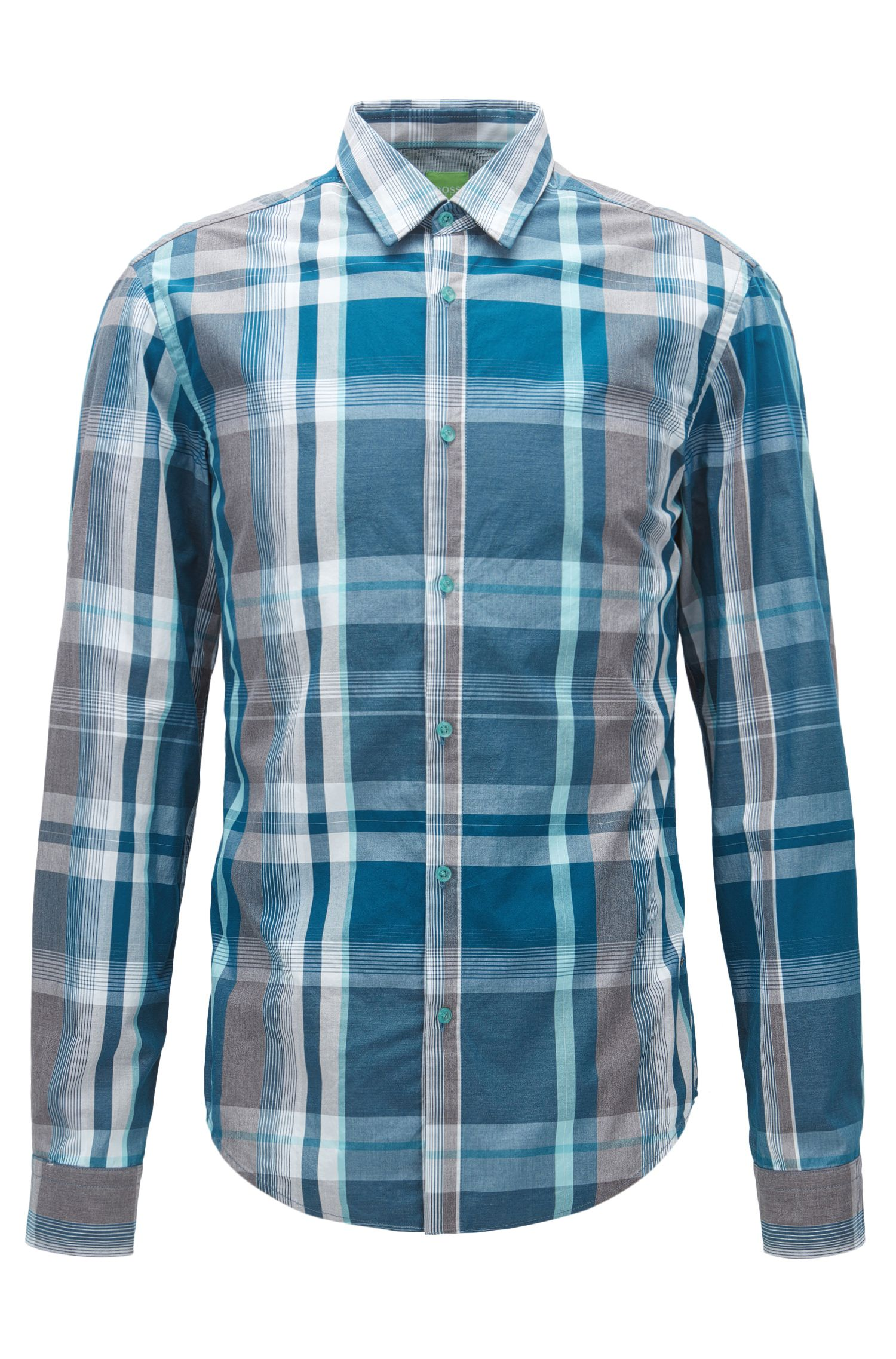 Camicia slim fit in cotone a quadri