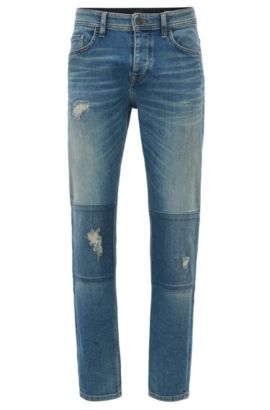 Jeans tapered fit in comodo denim vintage, Turchese