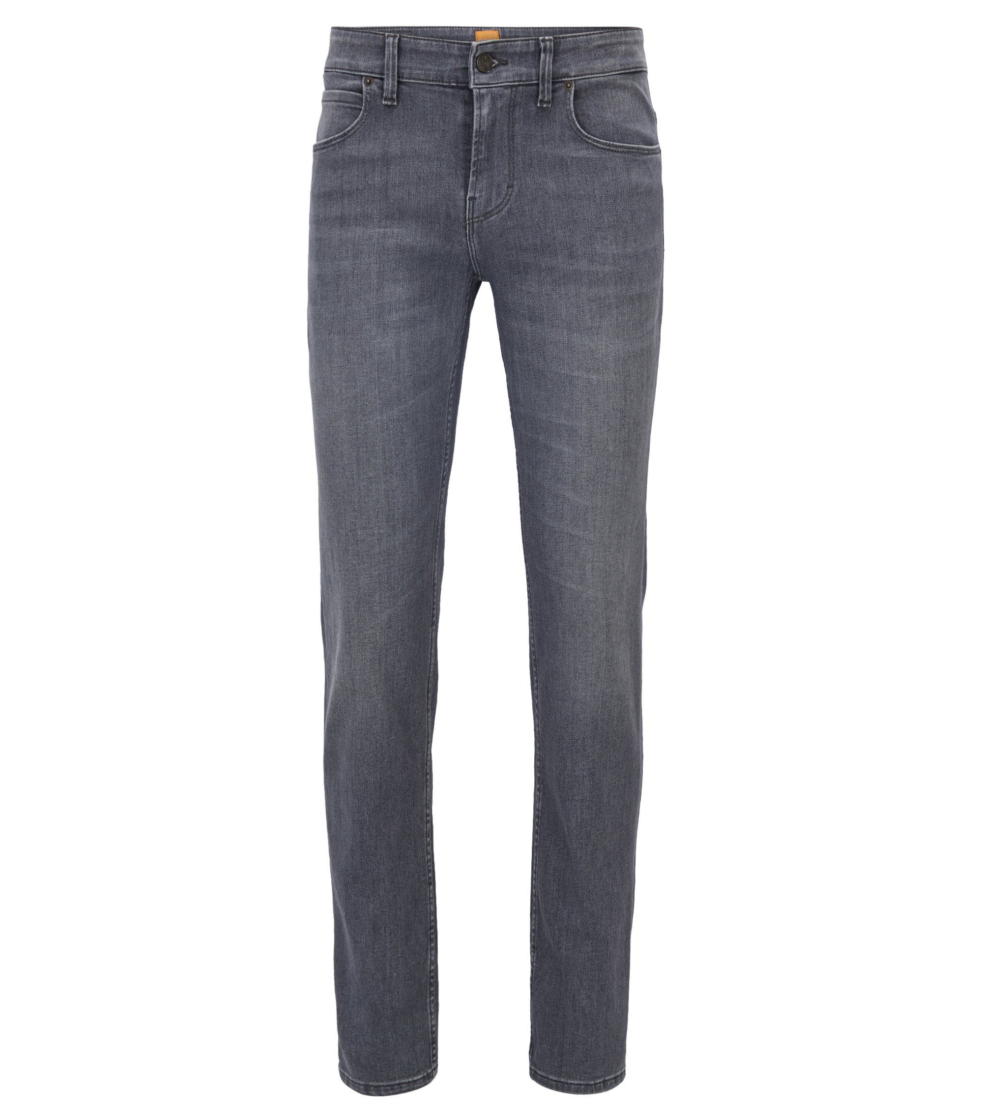 Jeans Slim Fit en denim stretch délavé, Anthracite