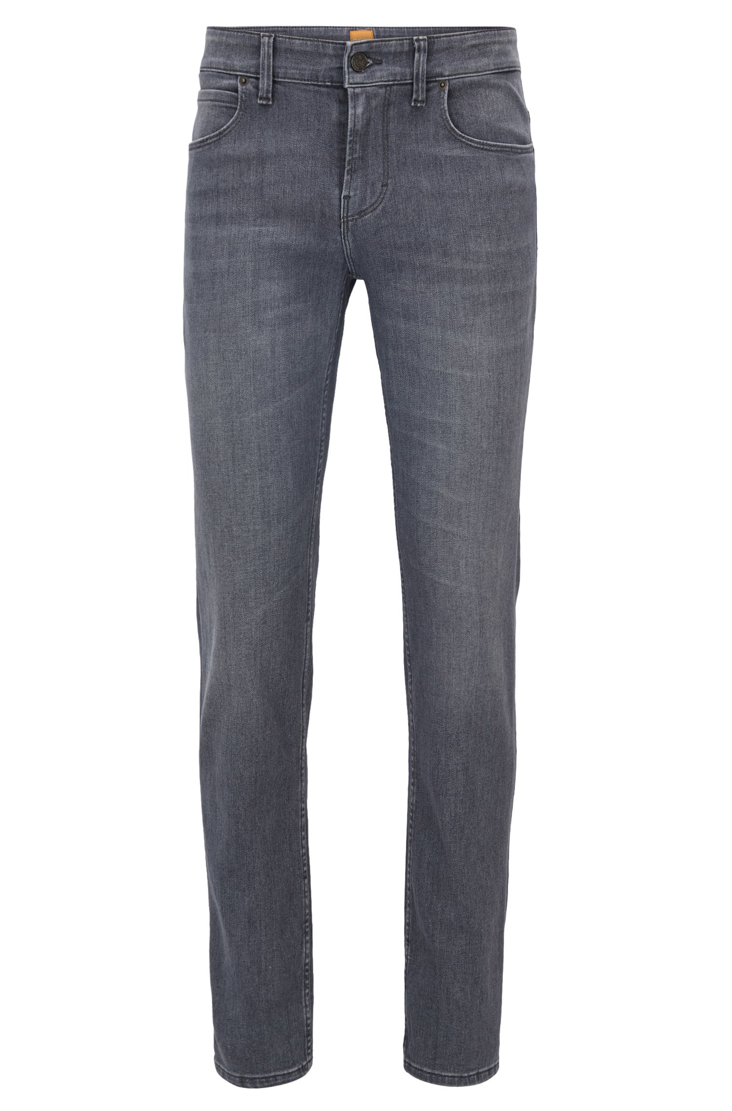 Washed slim-fit jeans in stretch denim