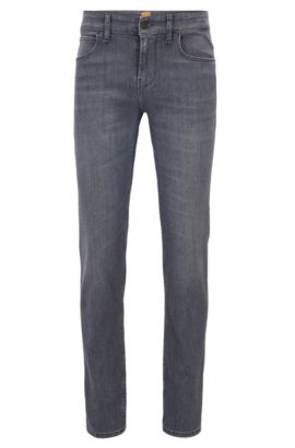 Washed slim-fit jeans in stretch denim, Anthracite