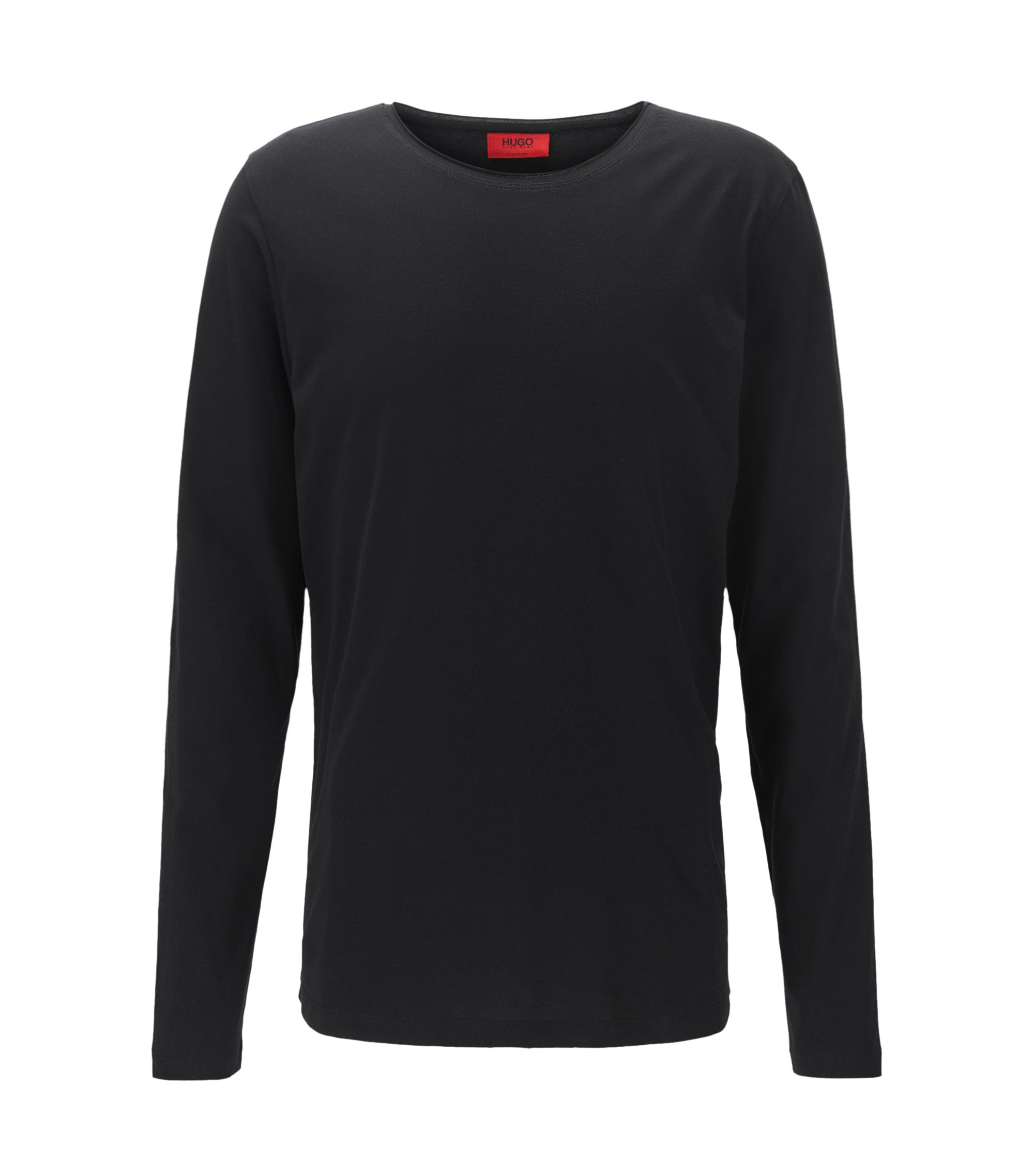 T-shirt relaxed fit a maniche lunghe in cotone Supima, Nero