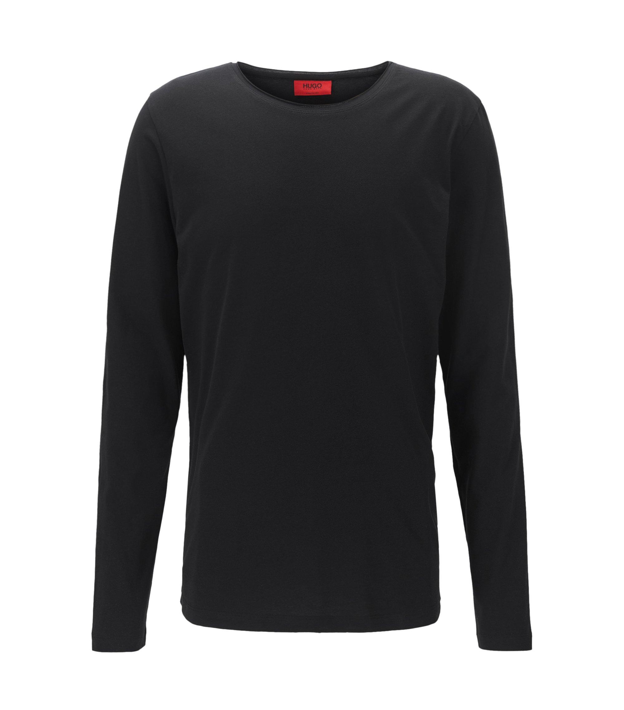 Camiseta relaxed fit de manga larga en algodón supima, Negro