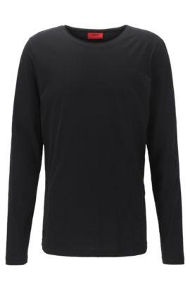 Relaxed-fit T-shirt van supimakatoen met lange mouwen, Zwart