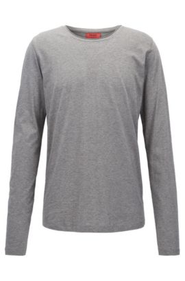 T-shirt Relaxed Fit à manches longues en coton Supima, Gris chiné