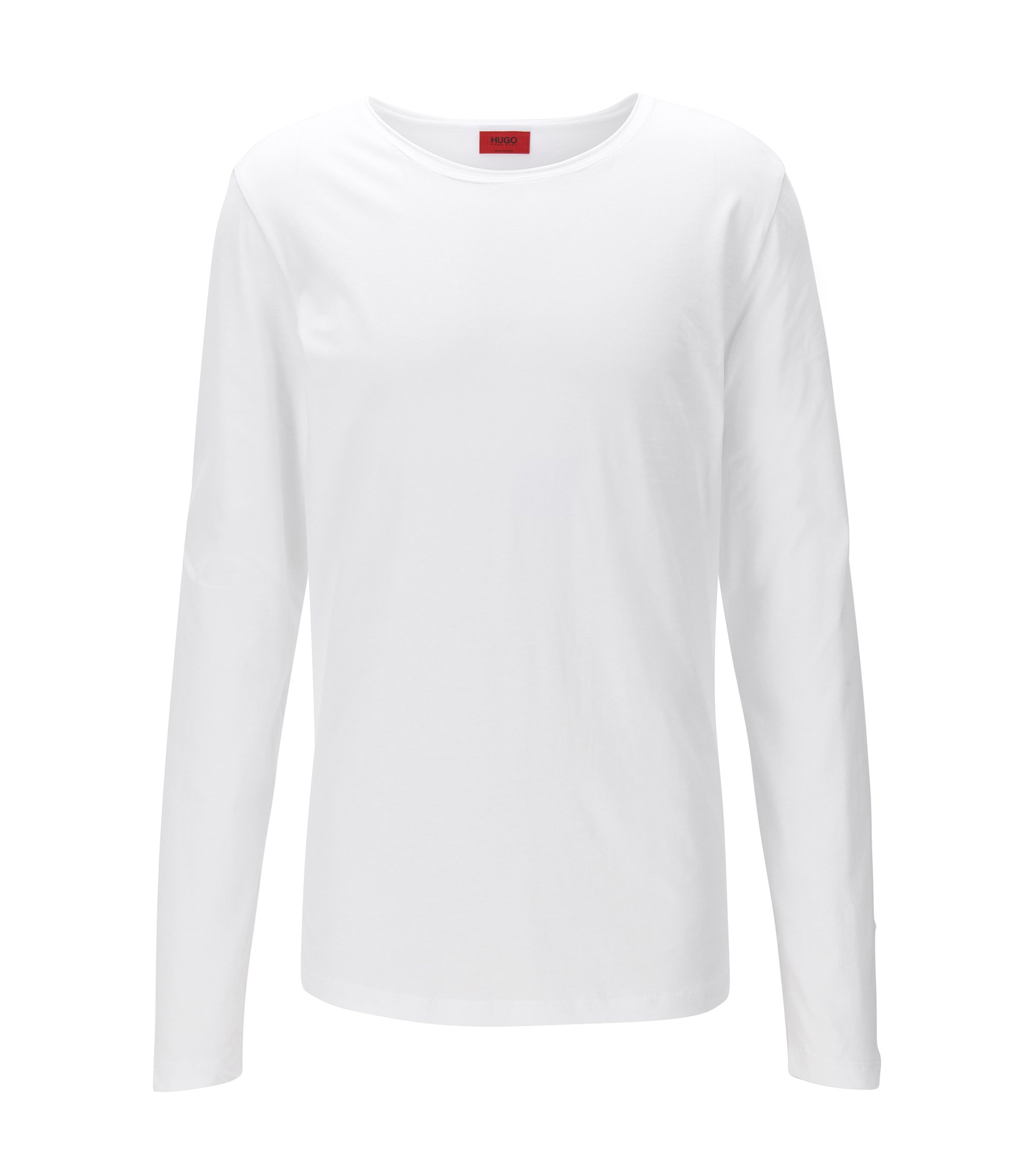 Camiseta relaxed fit de manga larga en algodón supima, Blanco