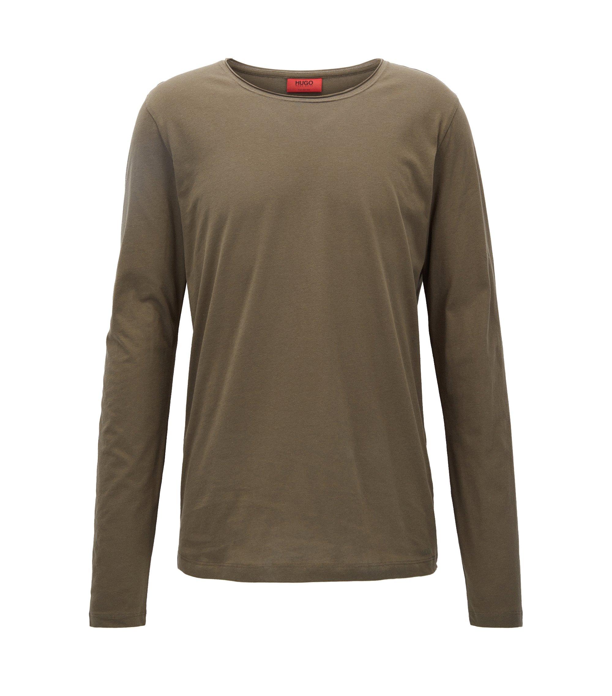 Relaxed-fit T-shirt van supimakatoen met lange mouwen, Donkergroen