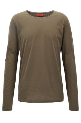 Relaxed-fit long-sleeved T-shirt in supima cotton, Dark Green
