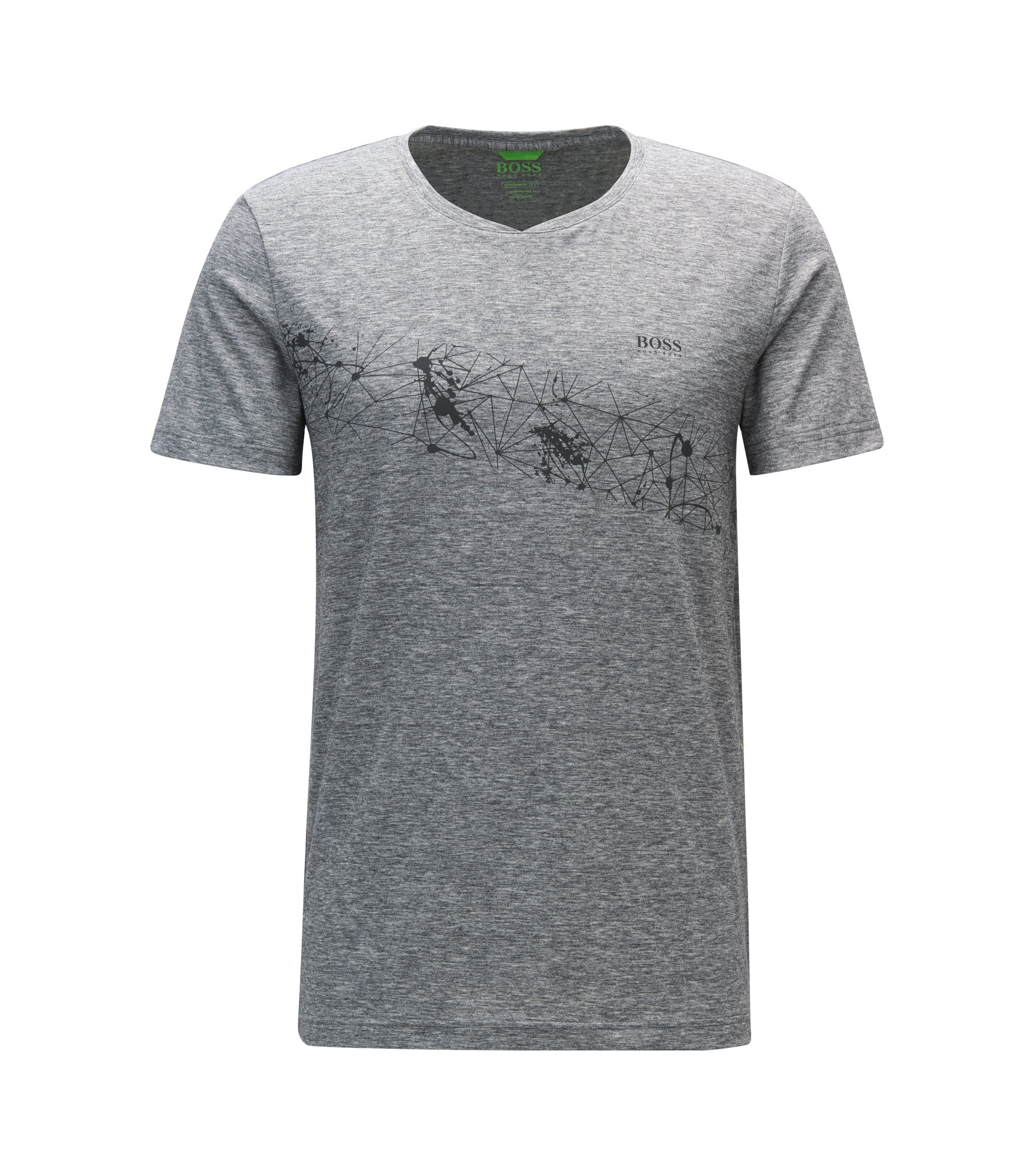 Extra Slim-Fit T-Shirt aus Material-Mix, Grau