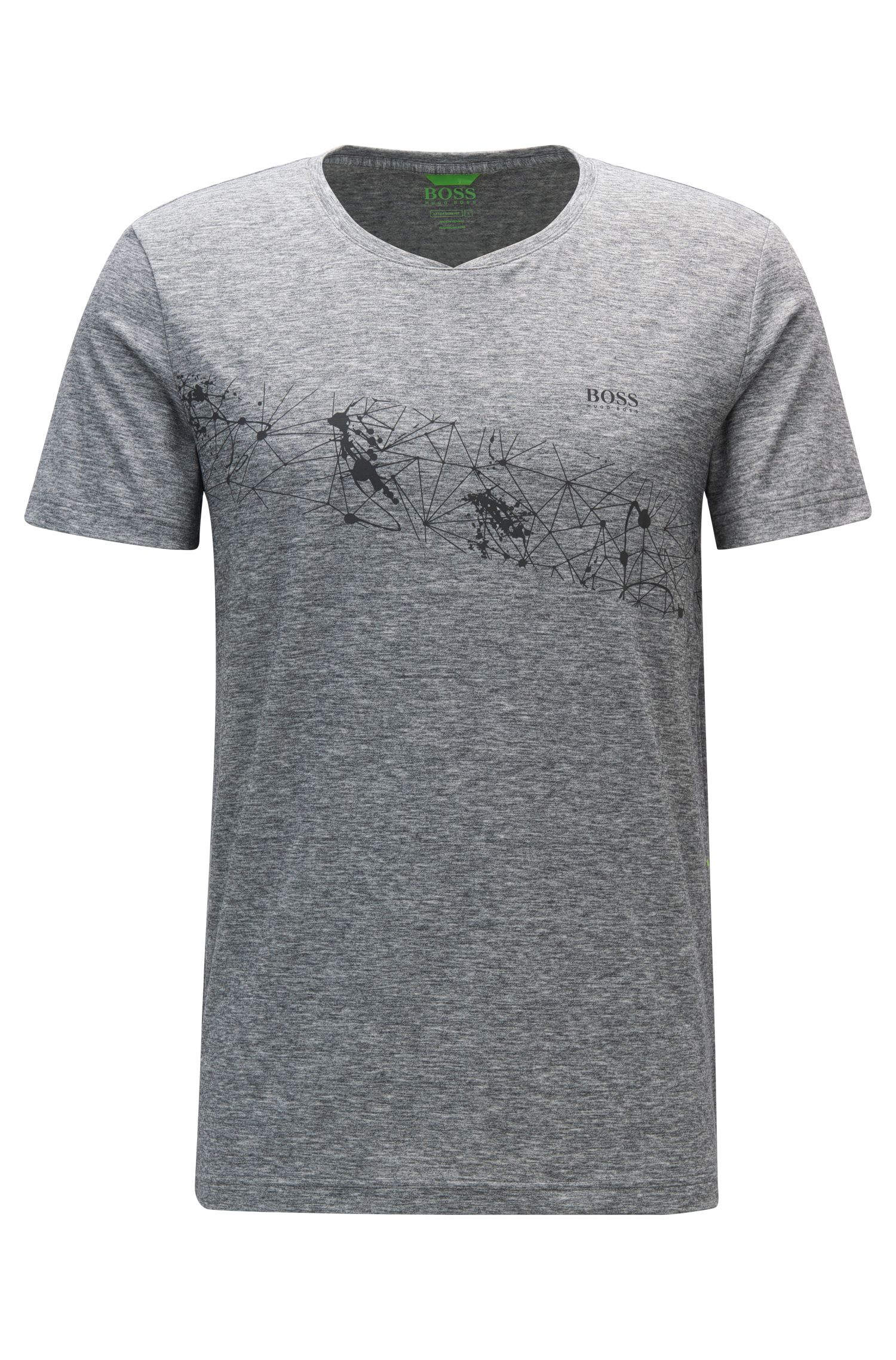 Extra-Slim-Fit T-Shirt aus Material-Mix