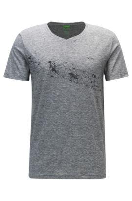 Extra-Slim-Fit T-Shirt aus Material-Mix, Grau