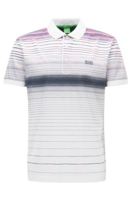 Regular-fit polo shirt in mercerised cotton, Blanc