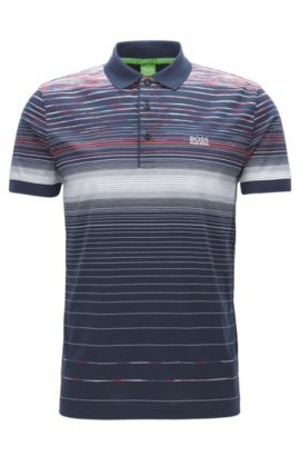 Regular-fit polo shirt in mercerised cotton, Azul oscuro