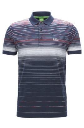 Regular-fit polo shirt in mercerised cotton, Bleu foncé