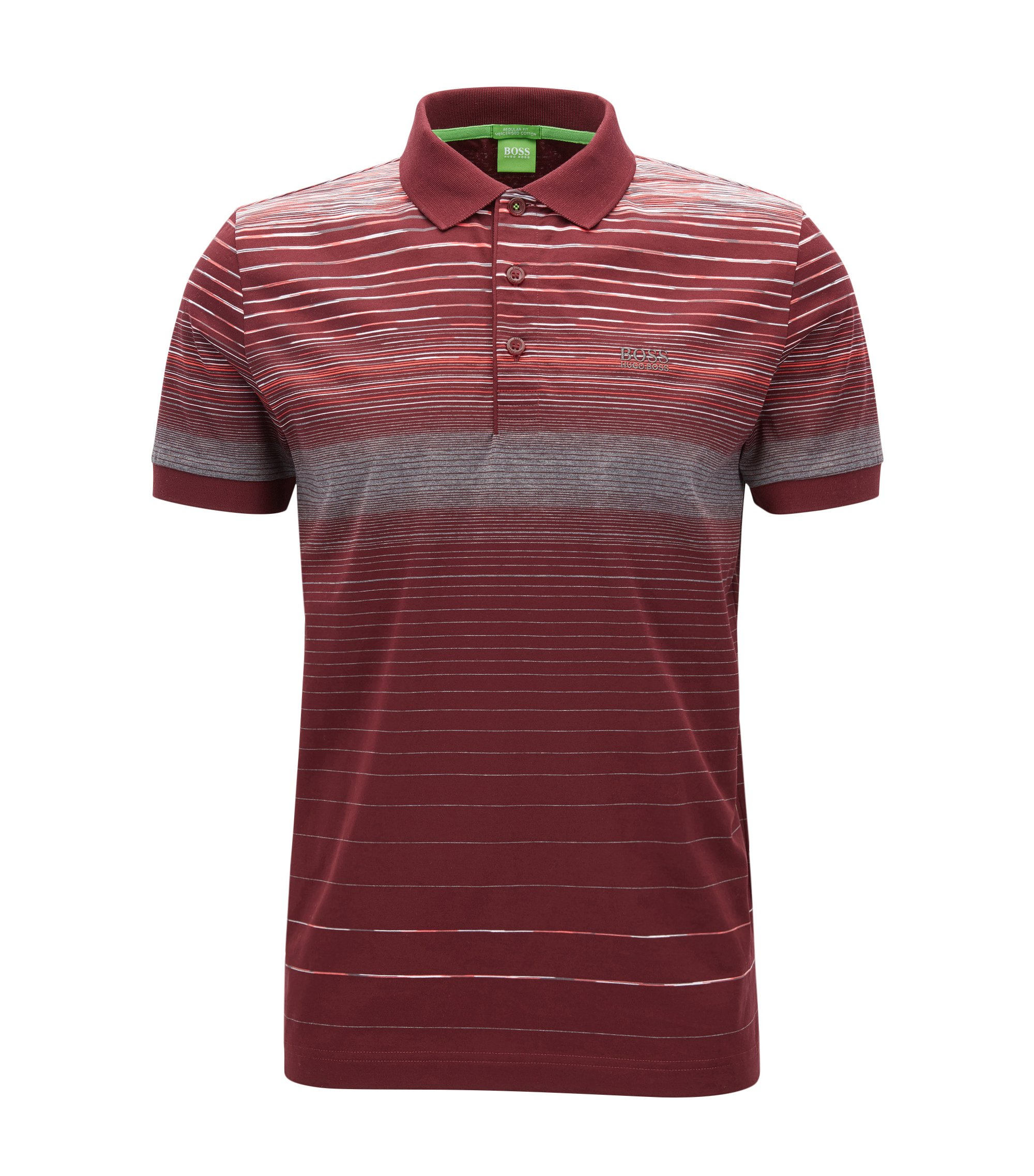 Regular-fit polo shirt in mercerised cotton, Dark Red