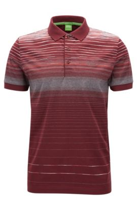 Regular-fit polo shirt in mercerised cotton, Rouge sombre