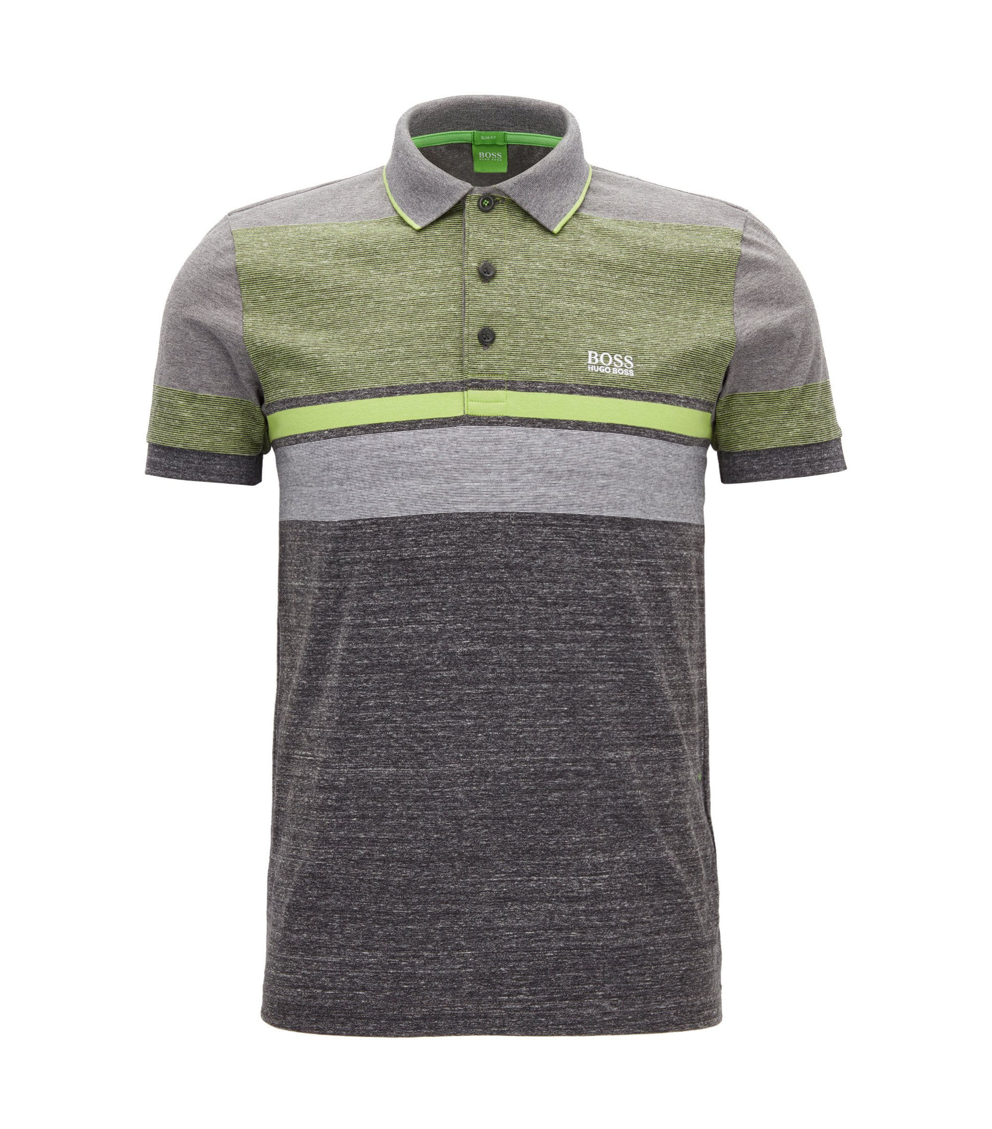 Meliertes Slim-Fit Poloshirt aus Baumwolle im Colour Blocking Design, Anthrazit