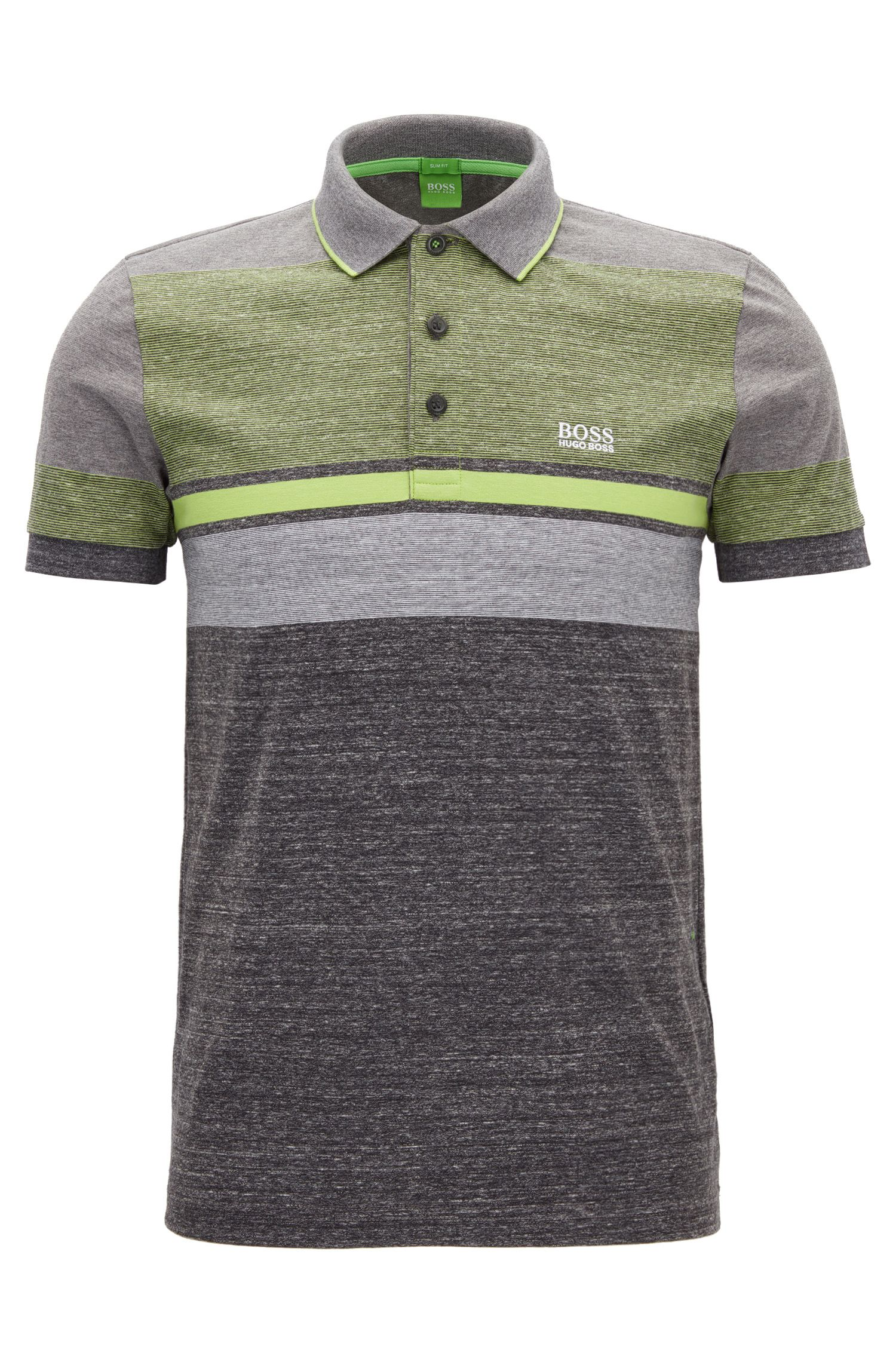Colour-block heather-stripe cotton jersey polo shirt in a slim fit