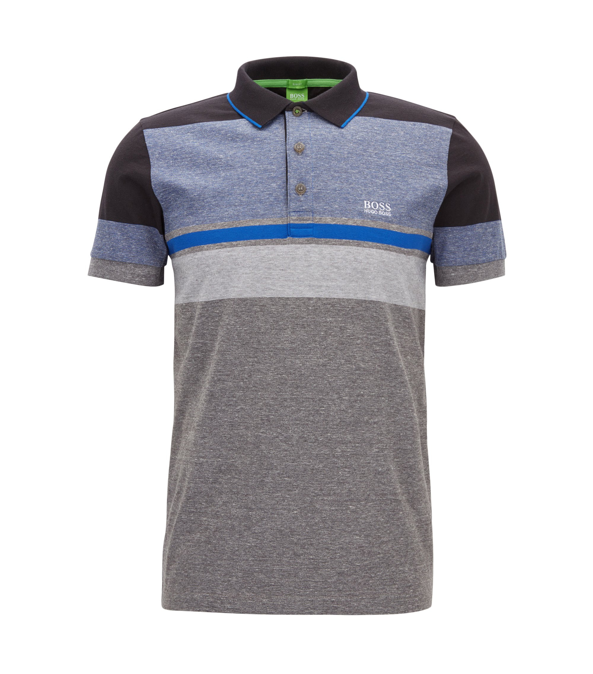 Colour-block heather-stripe cotton jersey polo shirt in a slim fit, Grey