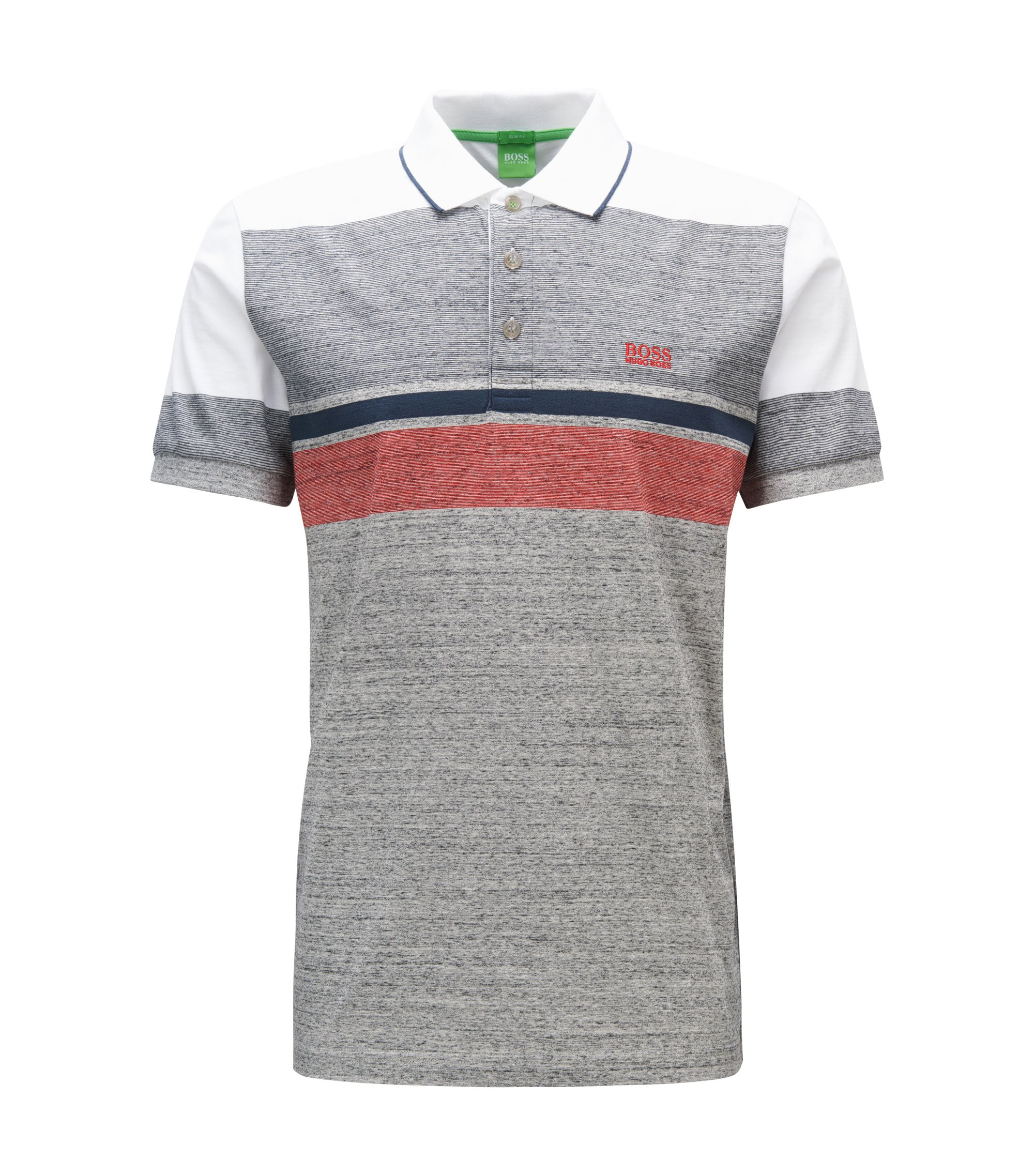Meliertes Slim-Fit Poloshirt aus Baumwolle im Colour Blocking Design, Hellgrau