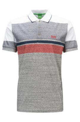 Polo Slim Fit en jersey de coton à rayures chinées color block, Gris chiné