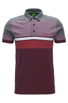 Colour-block heather-stripe cotton jersey polo shirt in a slim fit, Red