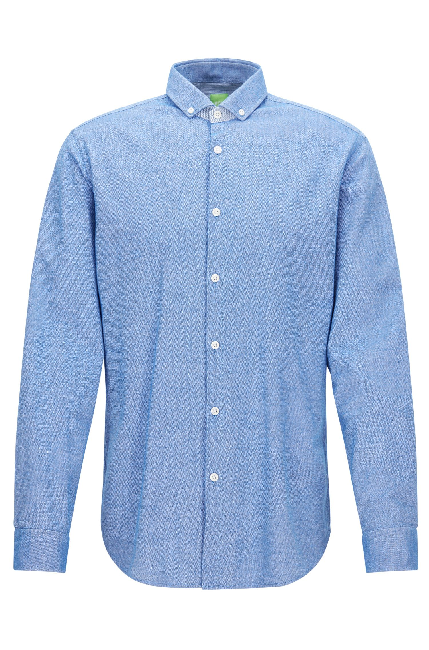 Regular-Fit-Hemd aus Baumwolle in Denim-Optik