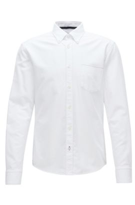 Camisa tipo Oxford slim fit en algodón con orillo, Blanco