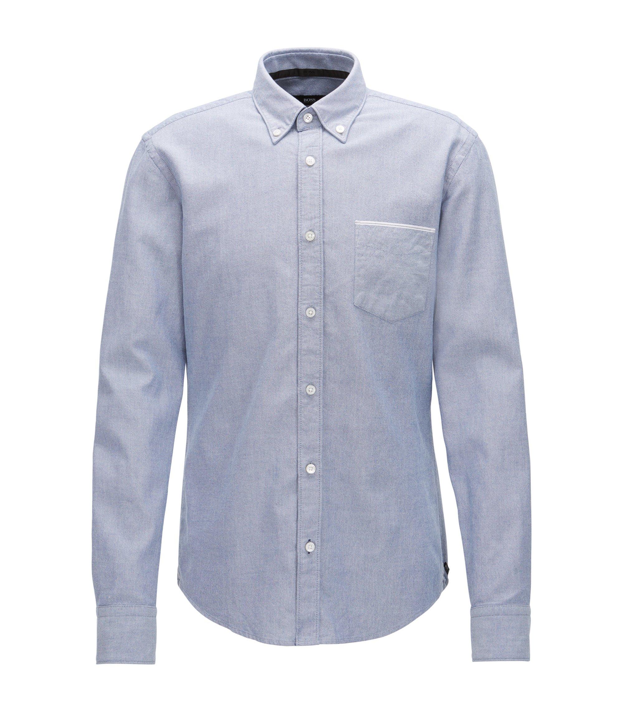 Slim-Fit Oxford-Hemd aus Baumwolle mit Selvedge-Details, Dunkelblau