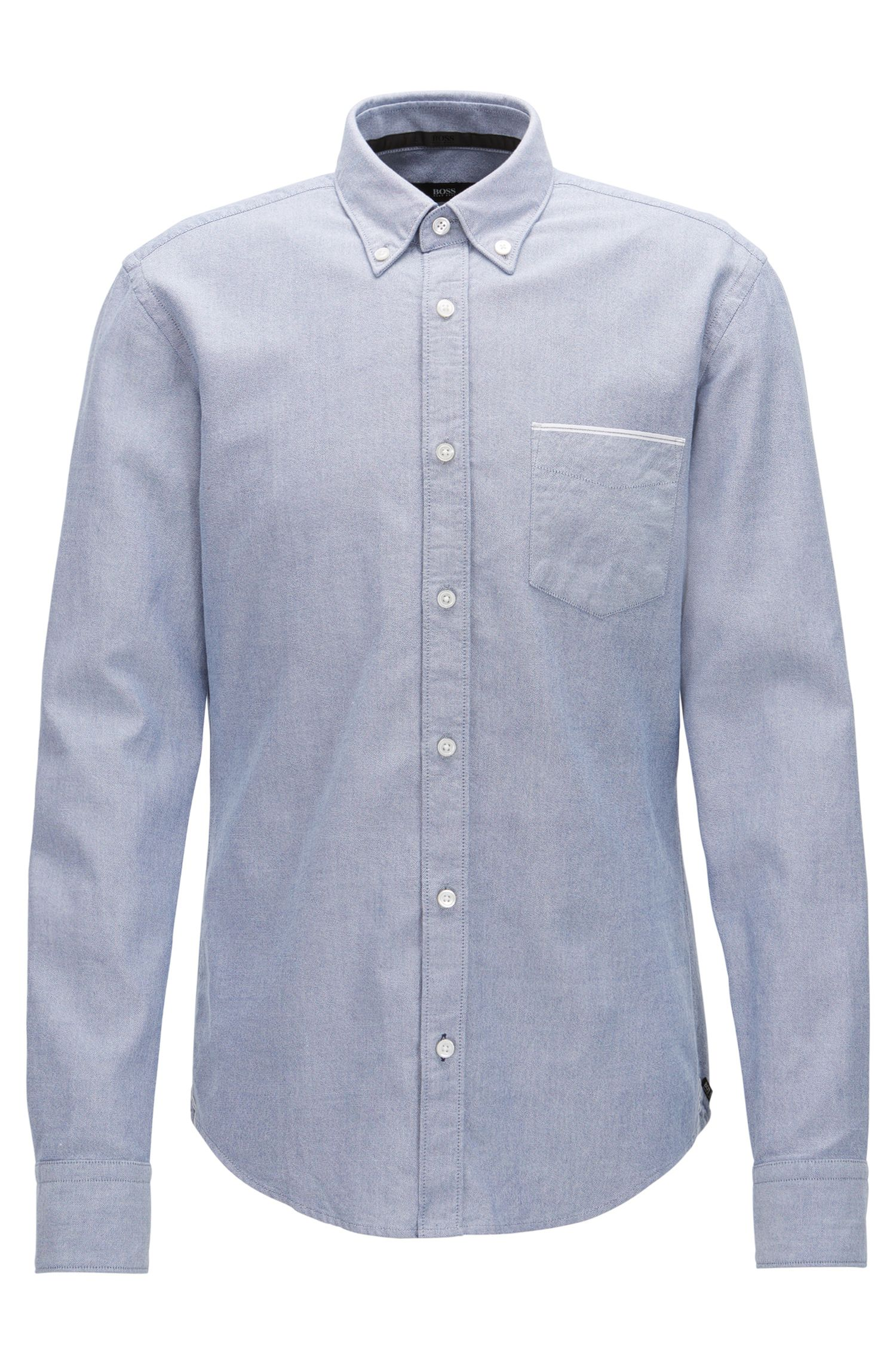 Camisa tipo Oxford slim fit en algodón con orillo