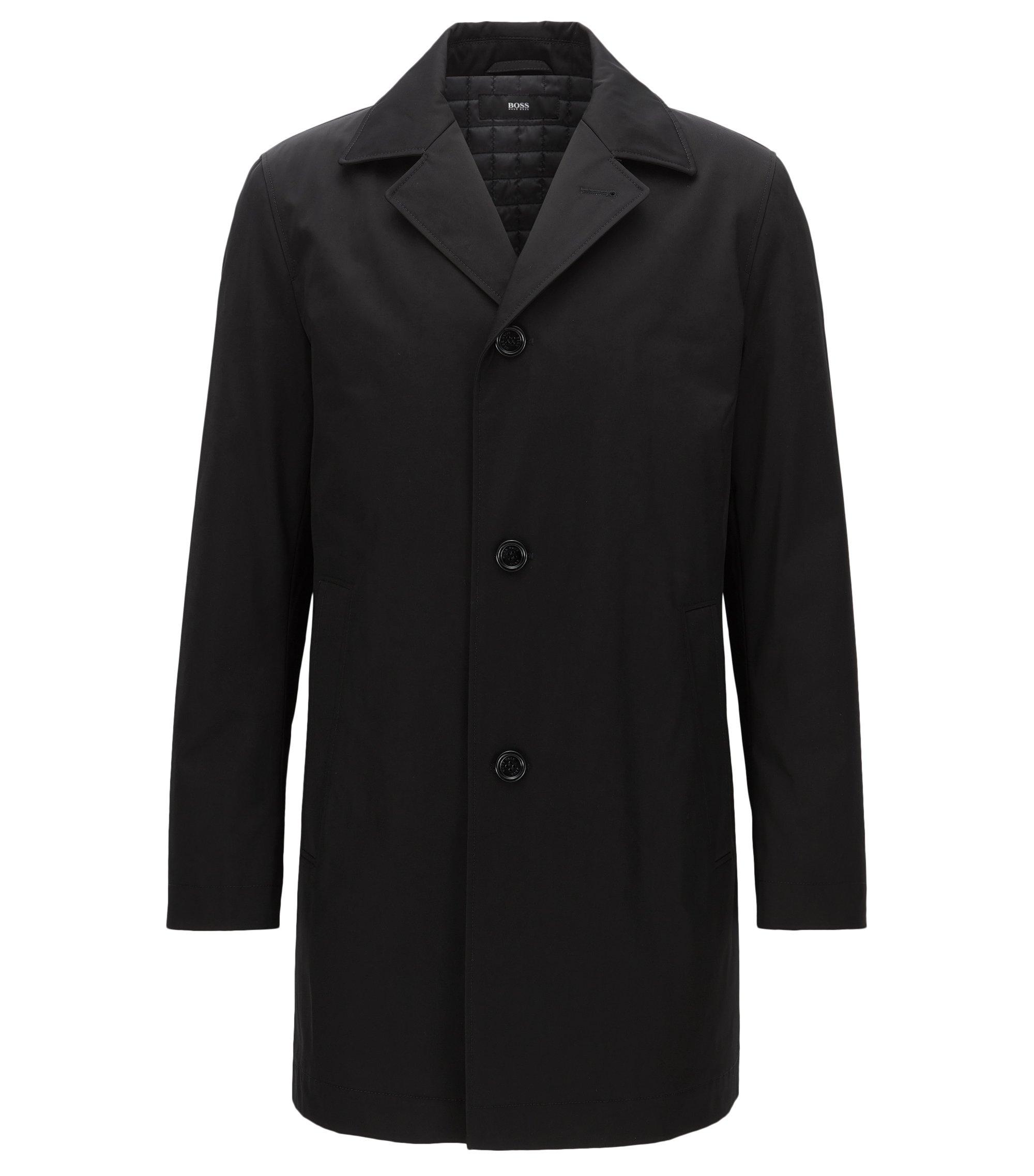 Abrigo ligeramente acolchado en tejido de peso medio, Negro