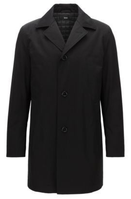Lightly padded coat in mid-weight fabric, Black