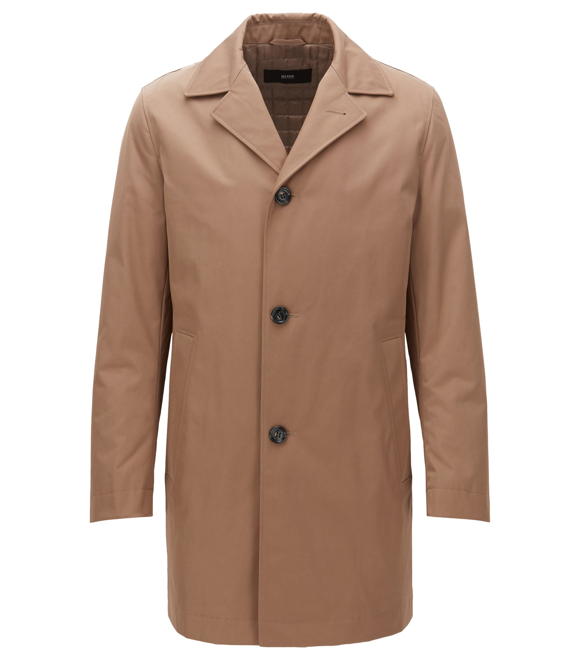 Lightly padded coat in mid-weight fabric, Khaki
