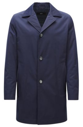 Lightly padded coat in mid-weight fabric, Dark Blue