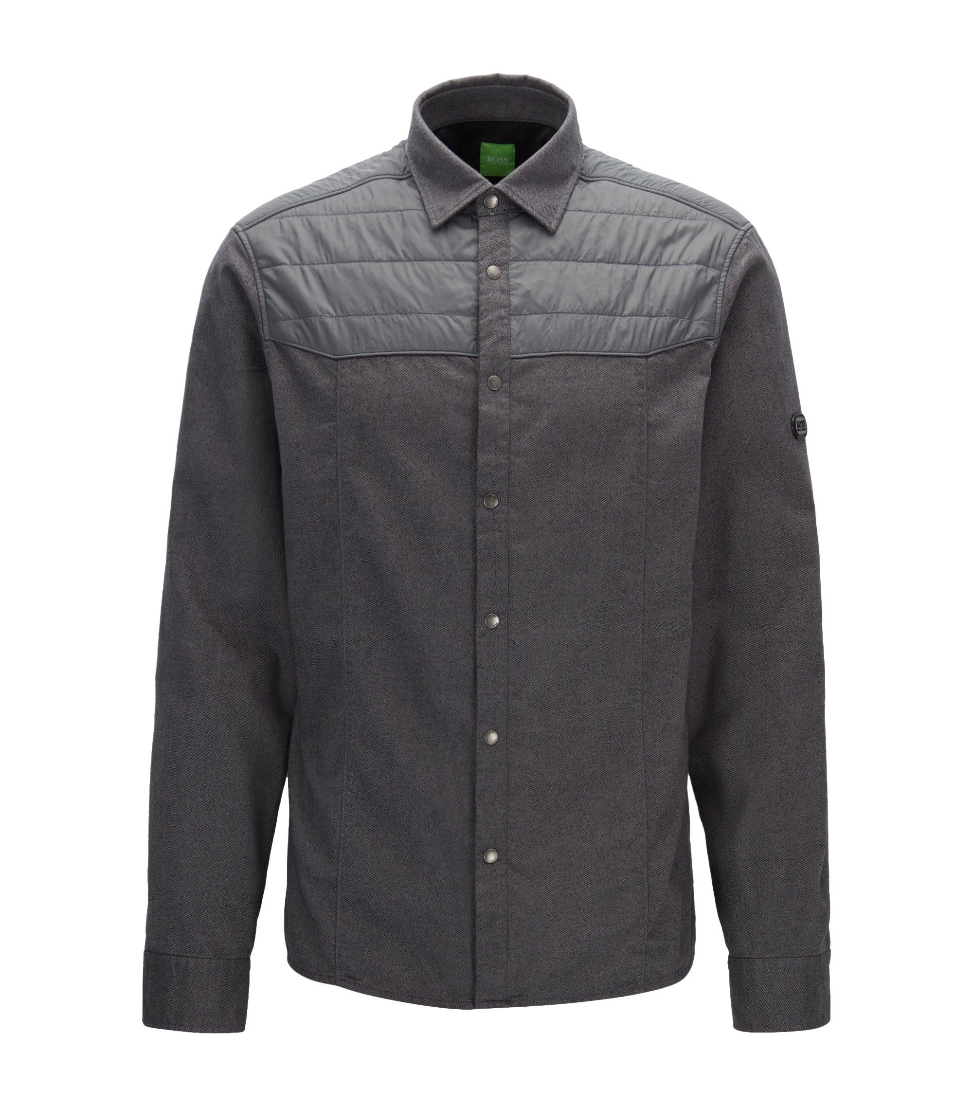 Relaxed-fit overhemd van deels gevuld flanel, Grijs