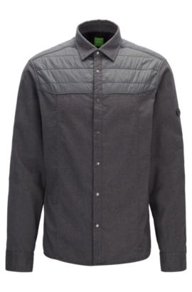 Partially padded flannel shirt in a relaxed fit, Grey