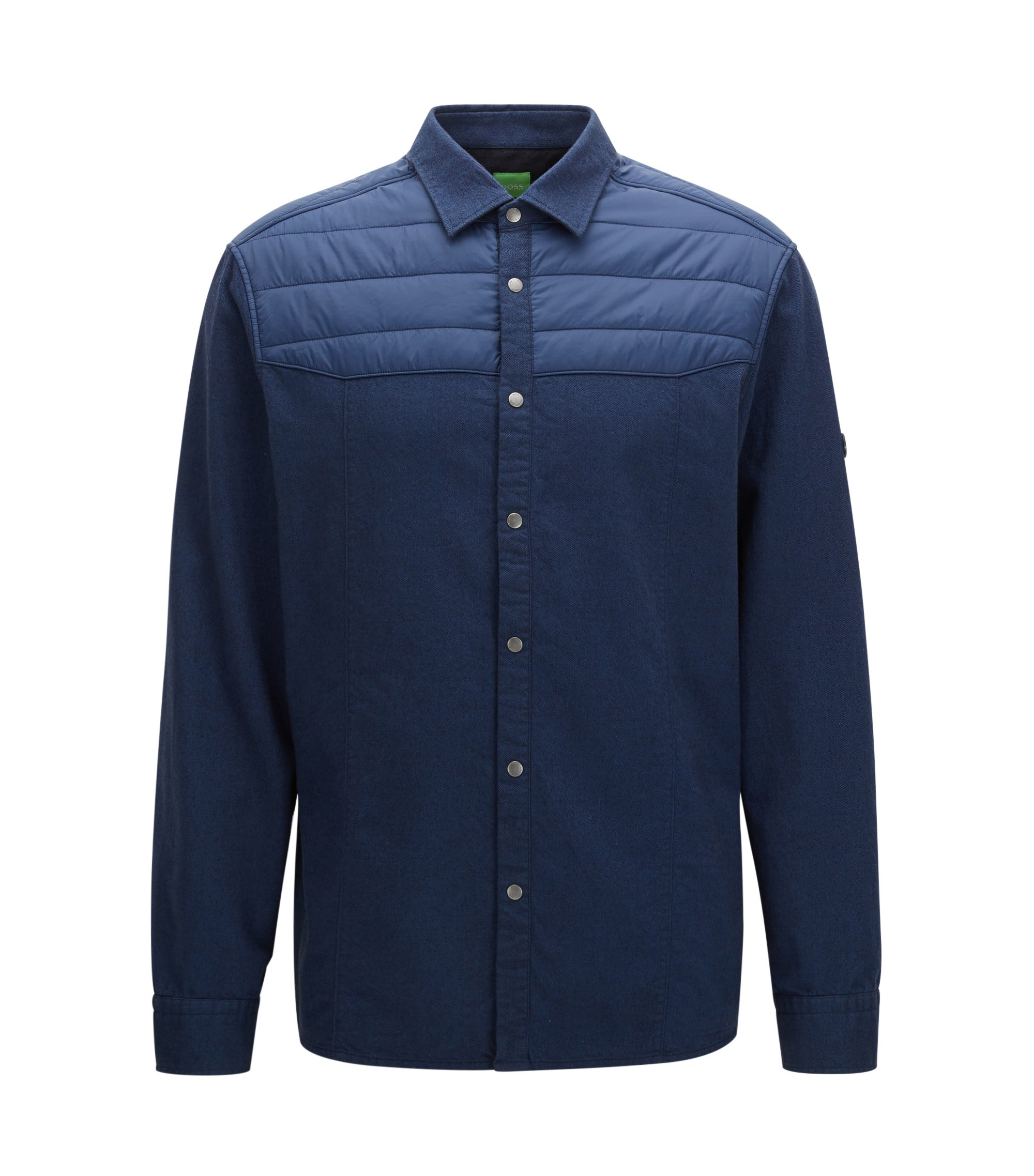 Partially padded flannel shirt in a relaxed fit, Dark Blue