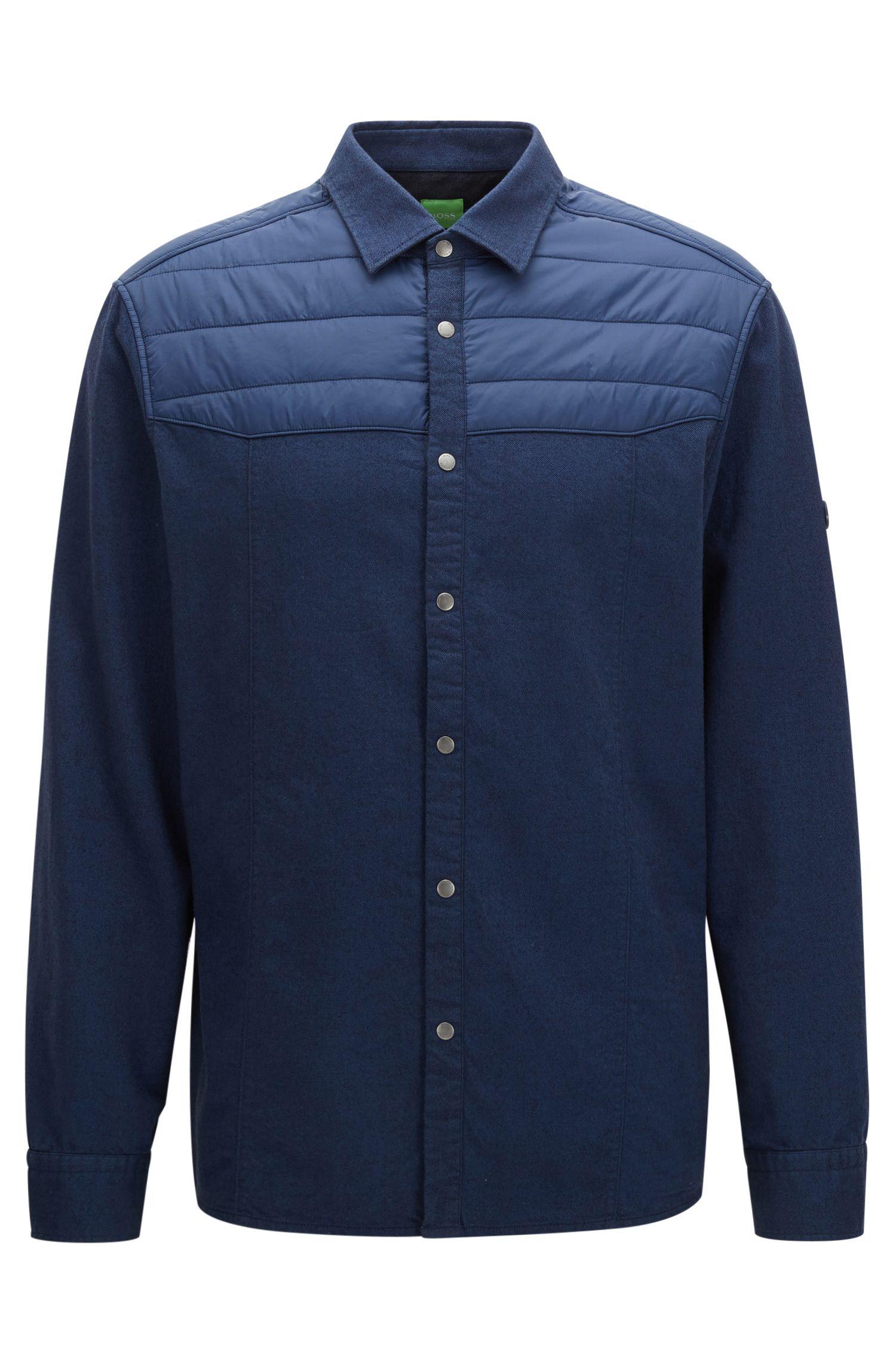 Teilweise wattiertes Relaxed-Fit Hemd aus Baumwolle