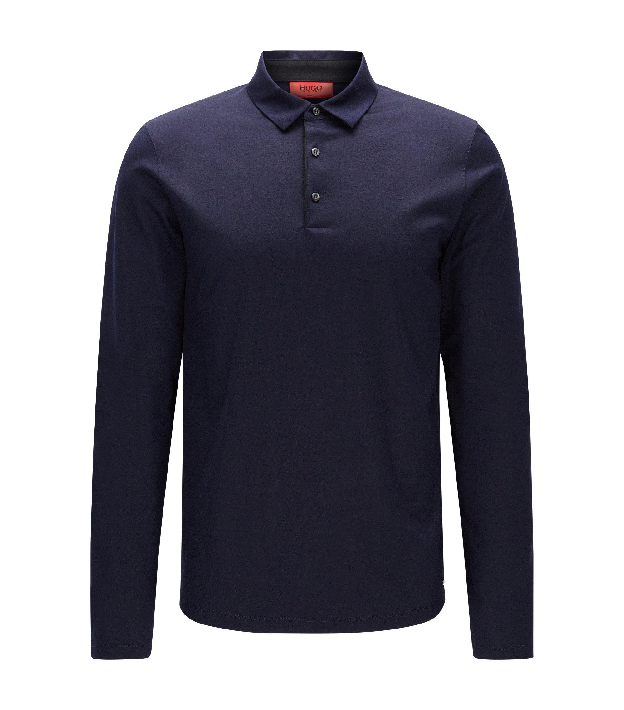 Polo Slim Fit à manches longues en coton mercerisé, Bleu foncé
