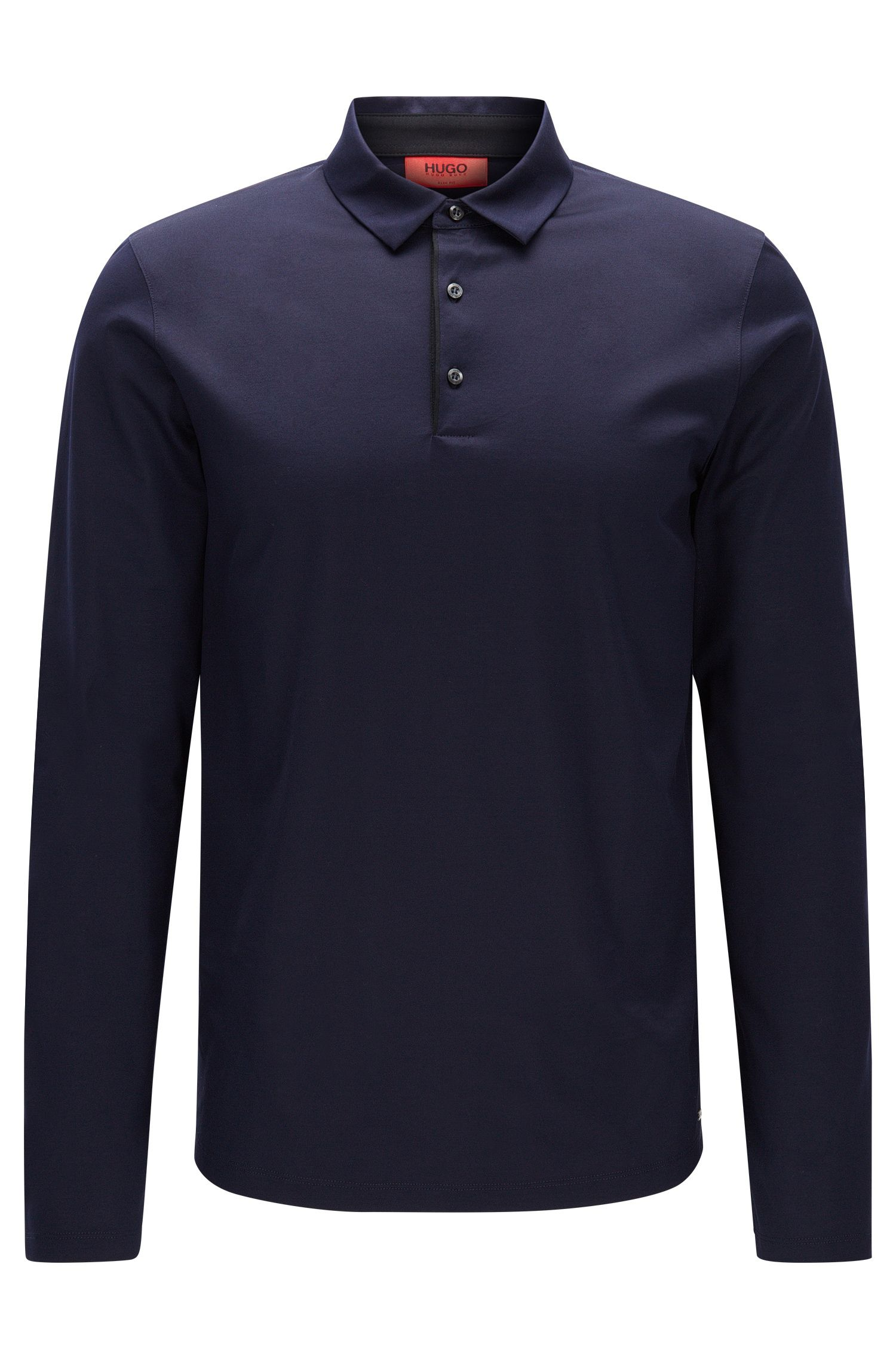 Long-sleeved slim-fit polo shirt in mercerised cotton