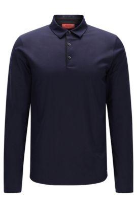 Long-sleeved slim-fit polo shirt in mercerised cotton, Dark Blue