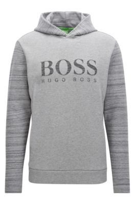 Hooded cotton-blend sweater with logo artwork, Light Grey